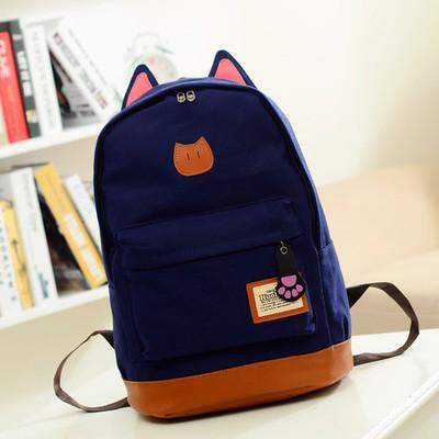 Wholesale- Coofit Canvas Backpack For Women Girls Satchel School Bags Cute  Rucksack School Backpack Children Cat Ear Cartoon Women Bags Bag Locator Bag  ... 8500a59653dfd