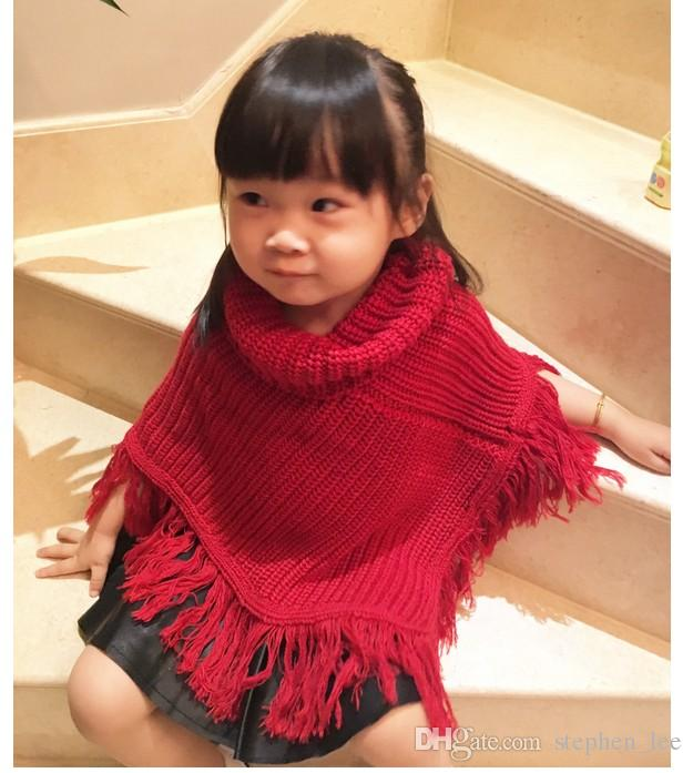 High Quality 2017 New Baby Girls Tassel Poncho Cape Autumn Winter Cute Girl Solid Color Knitted Poncho Outwear Korean Style Kids Shawl