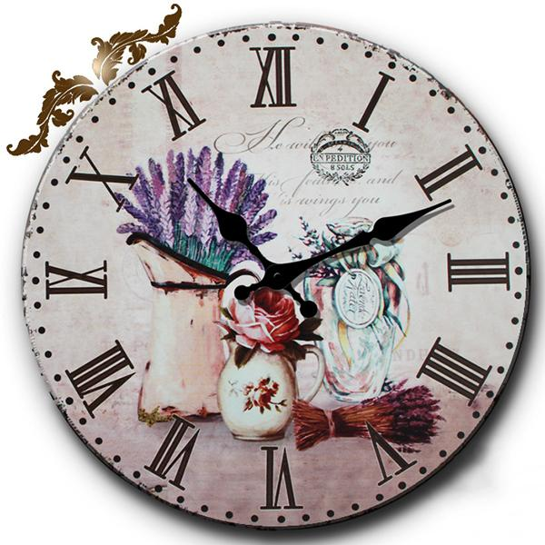 style roman numerals retro vintage wall clocks round wood indoor clock sunflower butterfly shabby home decor wall clock clocks modern clocks