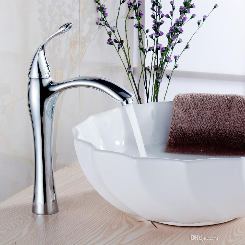 2018 Single Hole Control Bathroom Waterfall Vessel Sink Faucets ...