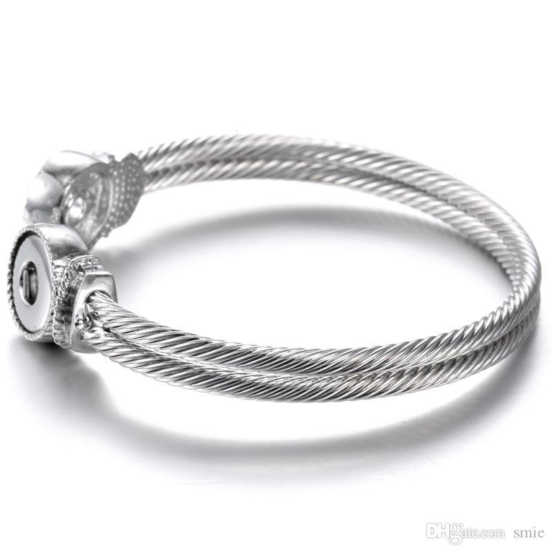 قطع نوسا التقط زر سحر سوار تصميم بسيط الفضة مطلي 12mm الزنجبيل قابلة للتبديل أساور مجوهرات