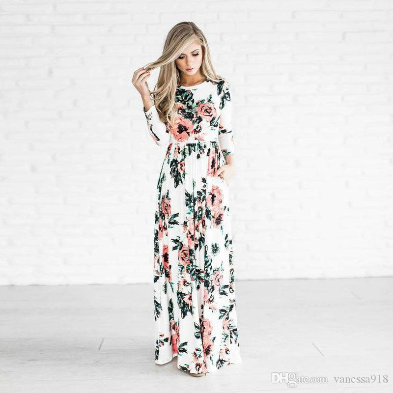 dd2e616e7bd Long Dress Women Summer Dresses Flower Print Round Neck Long Sleeve Plus  Size Wholesale Plus Size ONY125 Dress For A Cocktail Party Party Dresses  Summer ...