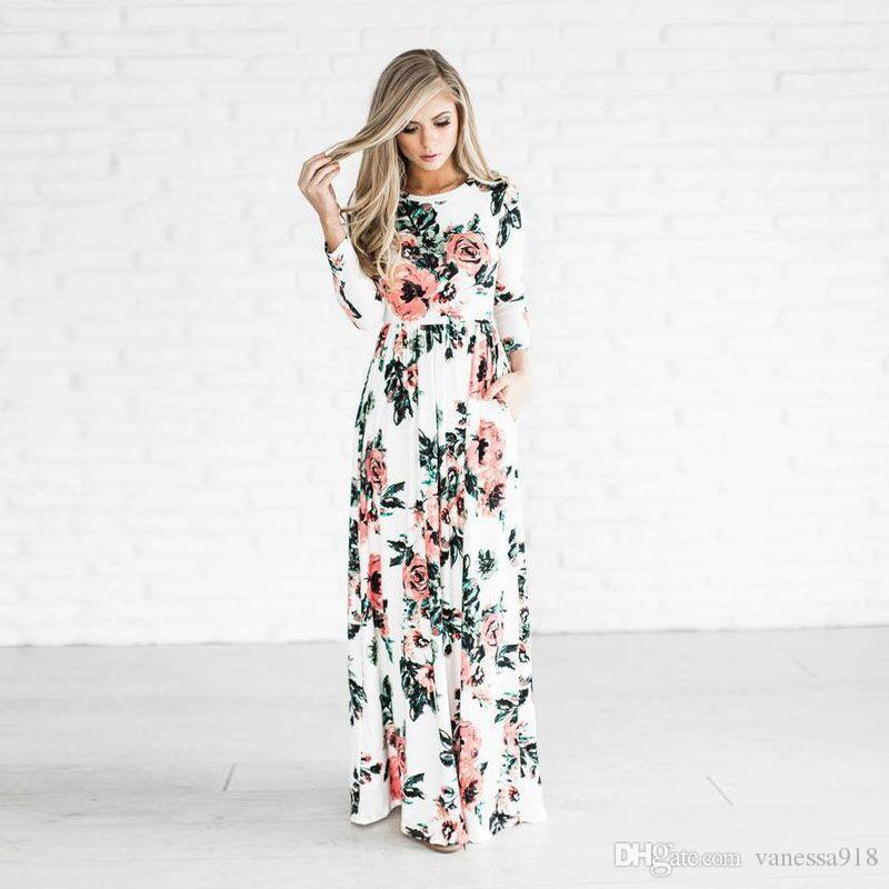 9d18027600 Compre Vestido Longo Vestido De Verão De Mulheres Flor Impressão Rodada  Pescoço Manga Longa Mais Tamanho 5 Cores Atacado Mais Tamanho ONY125 De  Vanessa918