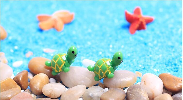 Artificielle Mignon Tortue Verte Animaux Fée Jardin Miniatures Mini Gnomes Mousse Terrariums Résine Artisanat Figurines pour La Maison Décoration