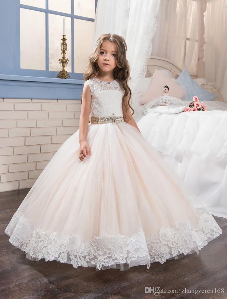 Abaowedding lace long kids puffy prom pageant dresses for for Wedding dresses for child