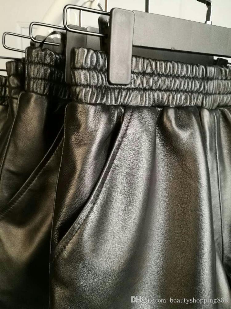 de las mujeres nuevos cortos corte del cargador de la moda de lujo genuina piel de oveja de alta elástico de la cintura de la pierna ancha más el tamaño S-3XL