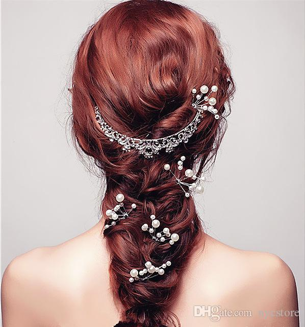 New bridal hair pins clips accessories for wedding hot bridal Bridesmaid white and red pearls hair piece hairpin comb clip accessory