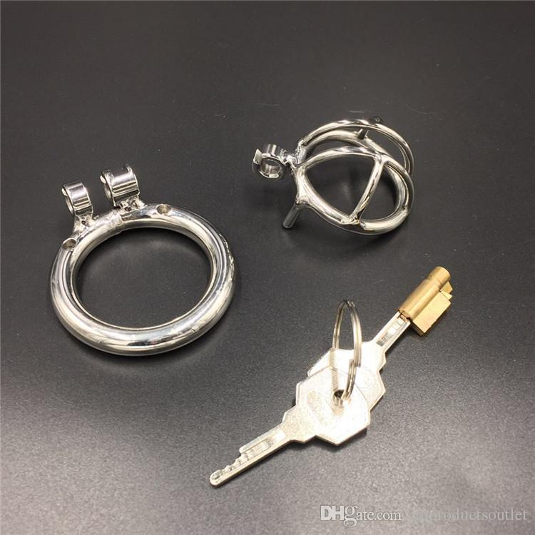 The shortest cage 20mm small cock cage new magic lock stainless steel male chastity cage super short chastity devices for men