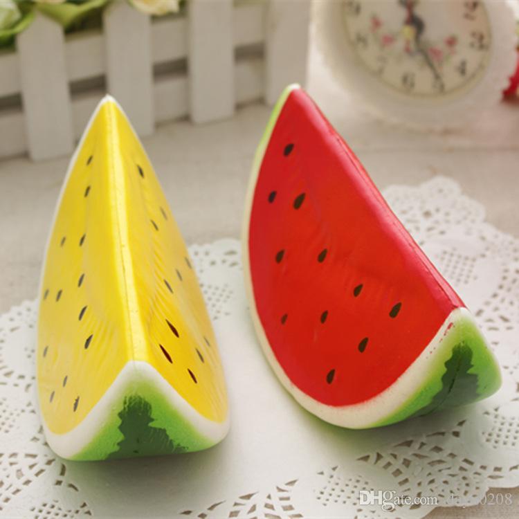 Squishy Foam : 2018 Pu Foam Water Melon Squishy Toys Charm Greens Fruit Key Ring Hanging Ornaments Pendant ...