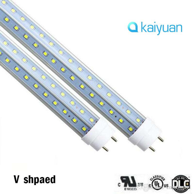 T8 LED V Shape Tube Light G13 2 pin 8ft 6FT 5FT 4FT 1.2M~ 2.4m Double Glow Light For cooler door AC85-2 led lighting fluorescent lamp
