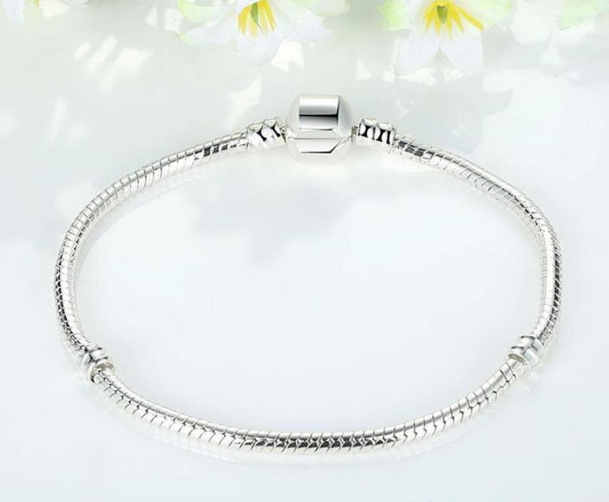 3mm 16-23cm 925 Silver Plated Bracelet Snake Chain with Barrel Clasp Fit European Beads Pandora Bracelets DIY