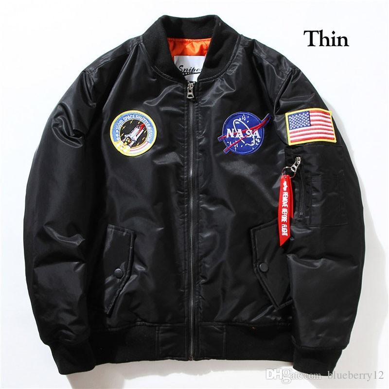 Fall-Flight Pilot Jacket Coat Bomber Ma1 Men Bomber Jackets Nasa Embroidery Baseball  Coats M-XXL
