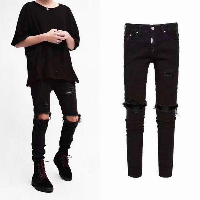 ccad13512b Compre La Rodilla Rasgó Los Hombres Jeans Ropa Urbana Punk Coreano Azul  Negro Diseñador Apenado Estiramiento Flaco Rasgado Pantalones Vaqueros M  XXL A ...