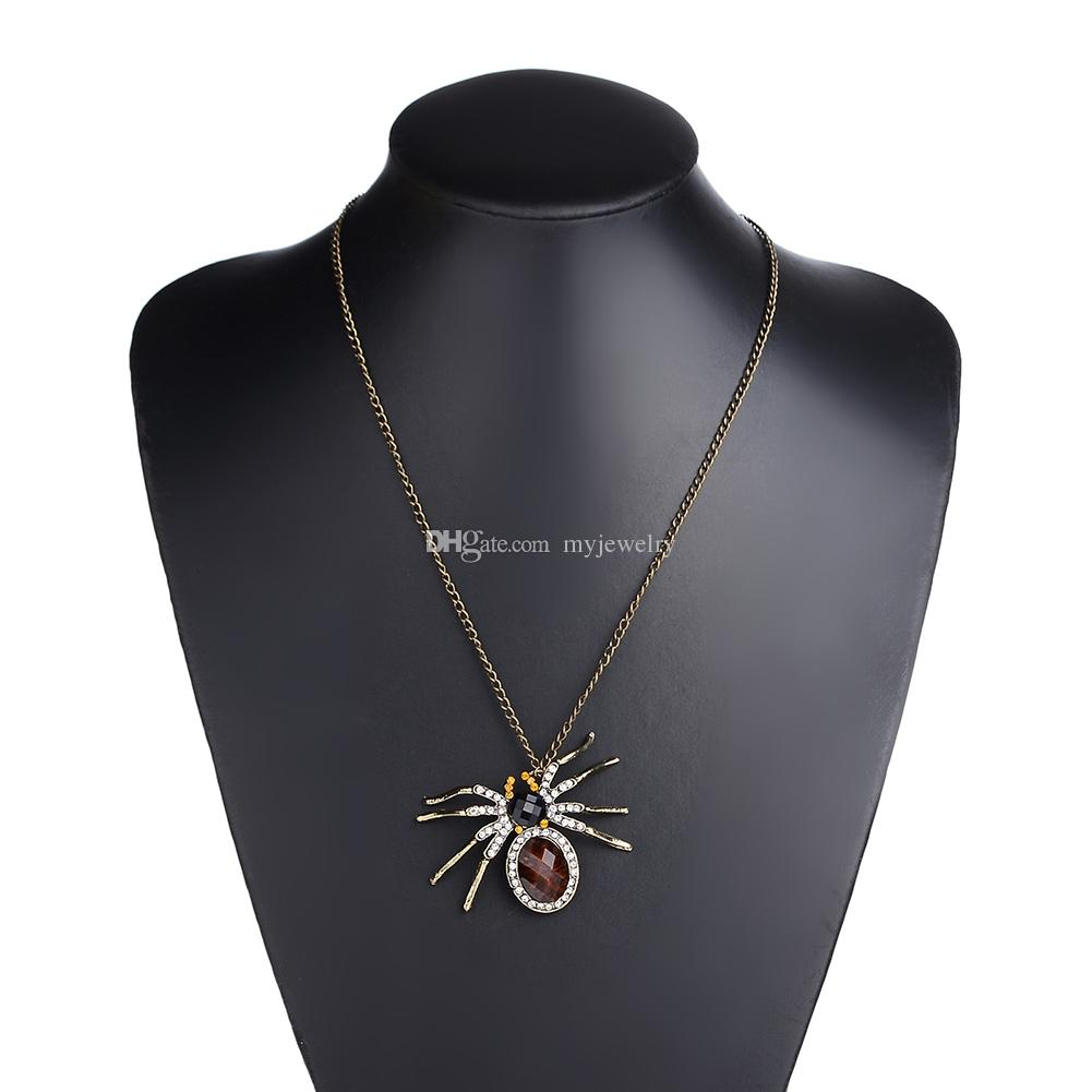 Wholesale retro bronze rhinestone spider pendant necklace for women wholesale retro bronze rhinestone spider pendant necklace for women charm long sweater chain jewelry fast necklace charm bracelets from myjewelry aloadofball Image collections