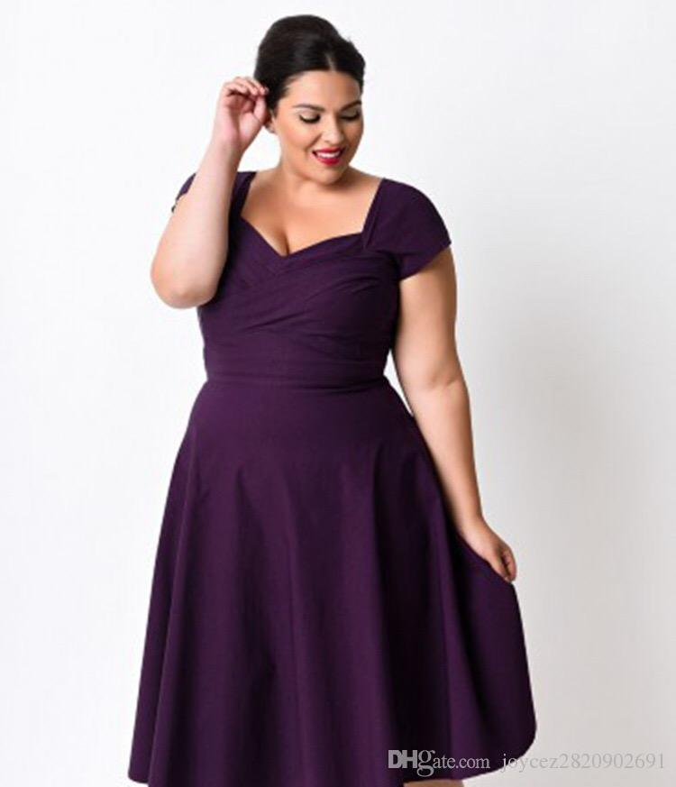 Europe Vintage Plus Size Dress American Design V Neck Dress Evening