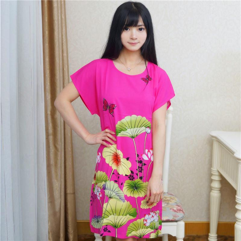 f374d6834b 2019 Wholesale Hot Sale Summer Short Sleeve Cotton Robe Dress Ladies Casual  Lounge Sleepwear Nightdress Flower Bathrobe Gown One Size A 119 From Oott