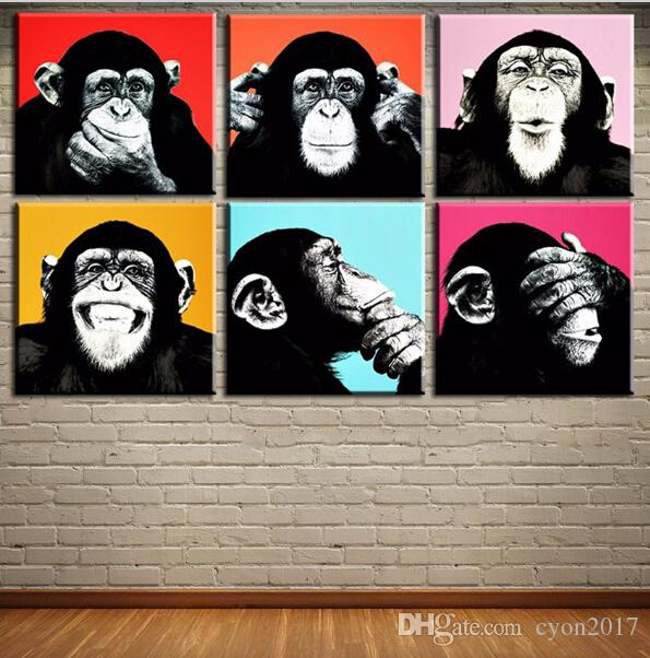New fashion Andywarol monkey Wall painting on canvas for home decor ideas paints on wall pictures art No framed