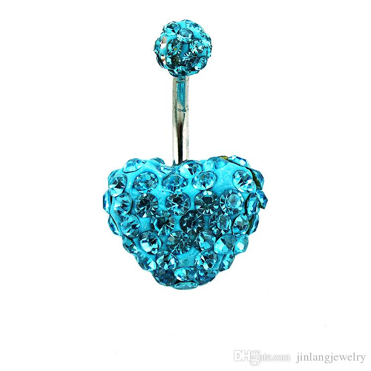 Wholesale! New Arrival Metal Surgical Steel Fashion White And Blue Rhinestone Heart Shape Belly Button Rings For Women Body Piecing Jewelry