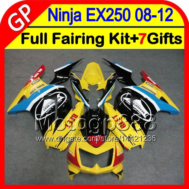 7gifts gloss yellow Cuerpo para KAWASAKI NINJA EX 250 08 09 10 11 12 EX-250 2GP51 EX250 R 08-12 EX250R 2008 2009 2010 2012 yellow fairing negro