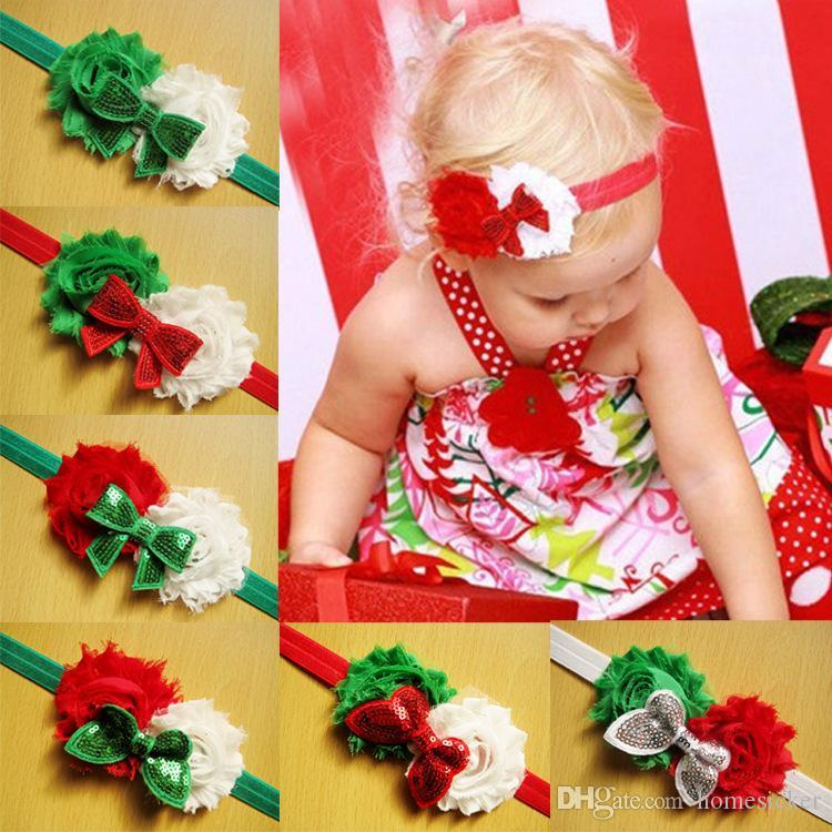 Bandeau bébé Bandeau Bandes de tête Bandes de Noël Style De Noël Fleur Shabby Bowknot 10 Designs Similaires Mélanger Bandeaux de Noël pour enfants 0-3 ans