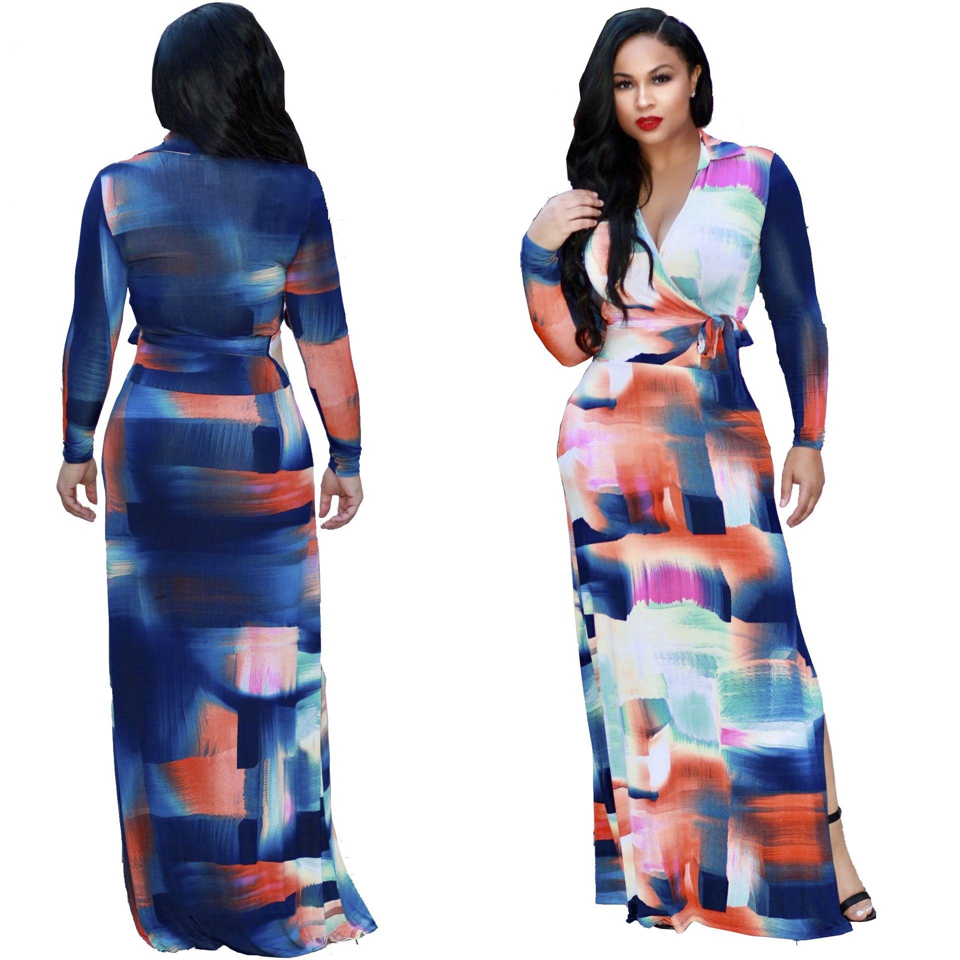 Women Printed Dresses Slit Long Sleeve Sheath New Fashion Maxi Long Party Bohemian Boho Tunic Dress Oversizes