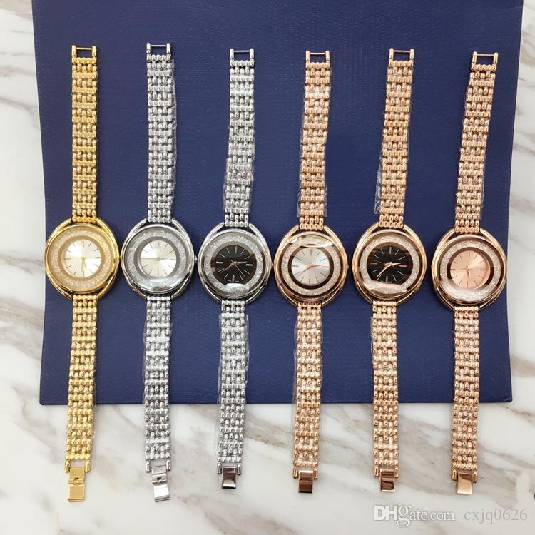 2018 새로운 패션 스타일 여성 시계 전체 다이아몬드 레이디 스틸 체인 손목 시계 럭셔리 석영 시계 높은 품질 레저 패션 디자이너 시계
