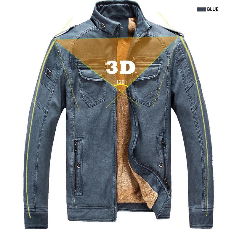 Marka Tasarımcı Erkek Deri Ceket Coat Moda Sonbahar Kış İçin Yaka Slim Fit Kalın Fleece Erkekler Ceketler Standı