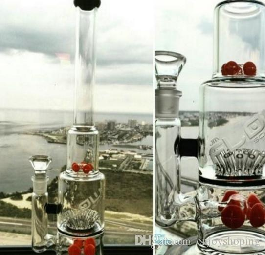 Best Jm Flow Bongs Red Beaker Tree Perc Glass Bubbler Big Bongs with Ash Catcher Thick Tall Recycler Oil Rigs