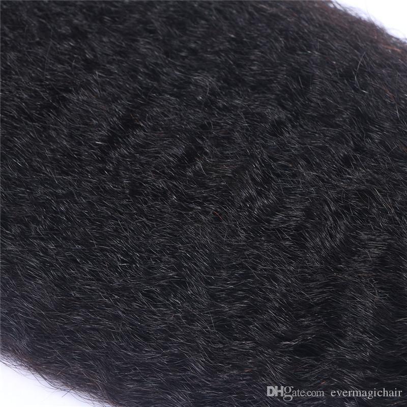 African American Afro Kinky Srtaight Brazilian Human Hair Bundles Hair Weave Double Drown Machine Human Hair Weft For Black Women
