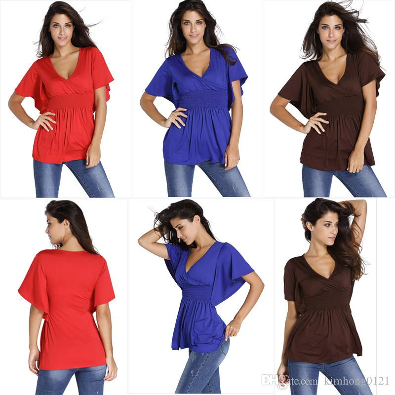00eac78acd3 2019 2017 New Arrival Fashion Summer Sexy Women V Neck Batwing Sleeve  Splicing Pleated Tops Blouse Tee T Shirts Plus Size From Kimhong0121