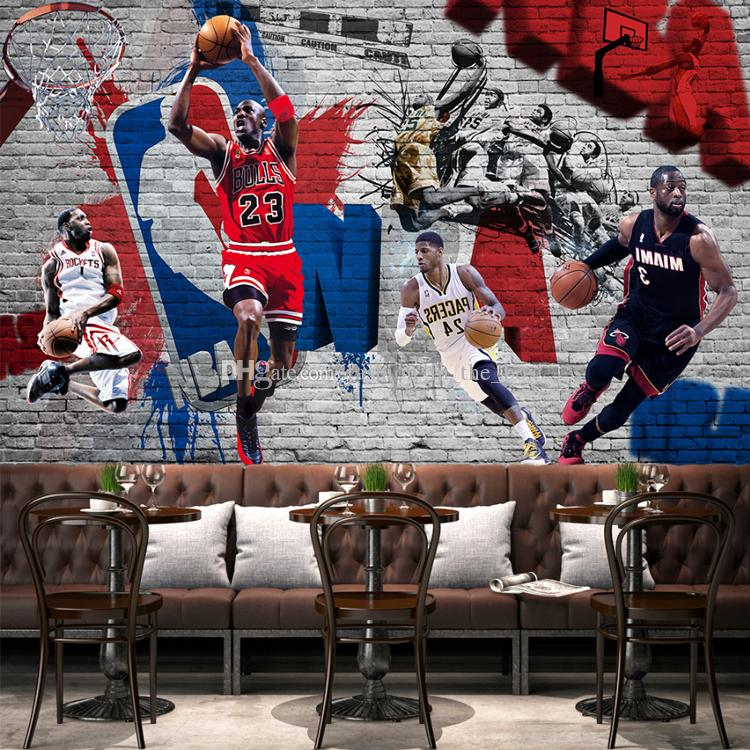 3d basketball wallpaper custom graffiti brick wall mural for Basketball mural wallpaper