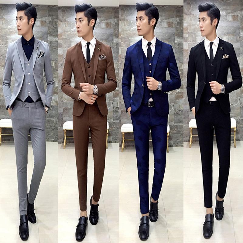 fb370e227791 Wholesale- free shipping 2016 fashion slim fit male Korean hair stylist  3-piece set suit groom wedding dress show host mens suits