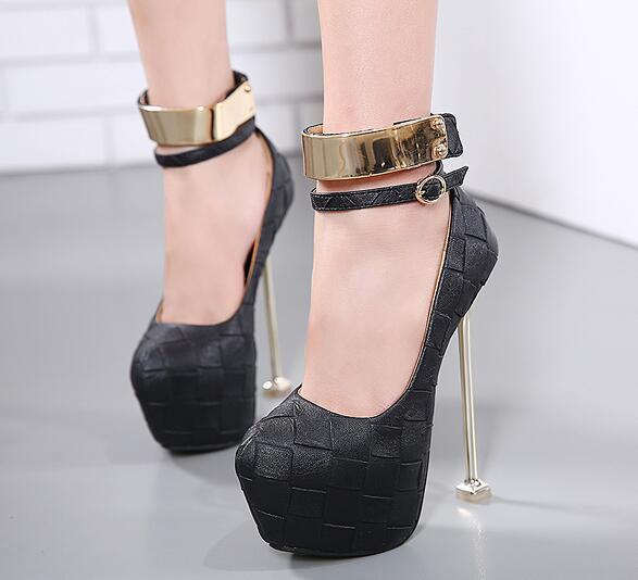 Sexy Women Evening Party Bridal Dress Shoes 2017 Sexy Ladies Night Club High Heels Buckle Waterproof 16CM 34-40 Size Women Pumps