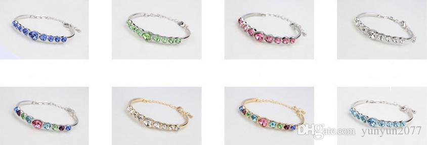 Valentine's Day Refinement Romantic OL Austrian Crystal Hearts Statement Chains Bracelets Bangles Fashion Fine Jewelry Accessories For Women