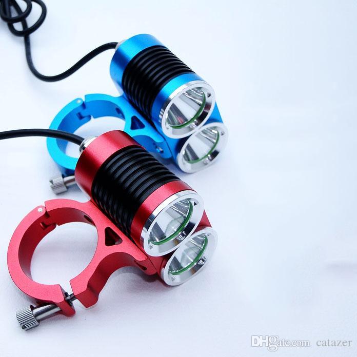 Catazer CREE XM-L T6 LED Regolabile in bicicletta Luce Focus Faro Custodia in lega di alluminio 2600 lumen Lampada da bicicletta di sicurezza Blu Colori rosso