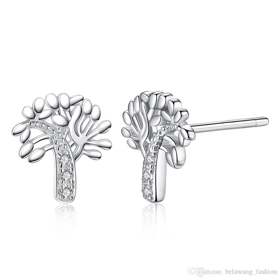 66c24ec8d ... BELAWANG Classic Tree Of Life Ear Stud Minimalist Tree Earrings For  Woman 925 Sterling Silver Couple ...