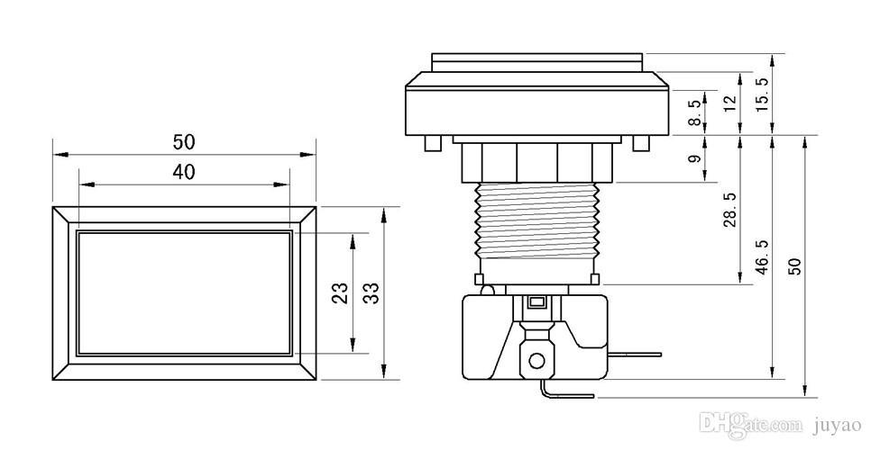직사각형 조명 버튼 12 개 아쿠아 게임기 용 마이크로 스위치가있는 직사각형 푸시 버튼