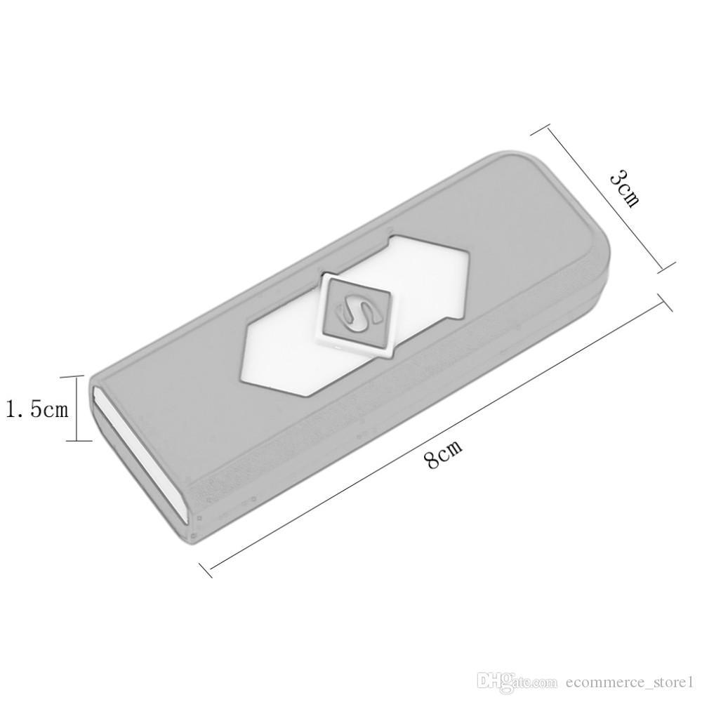 참신 휴대용 전자 USB 라이터 방풍 울트라 얇은 아니 가스 USB 충전식 Flameless 전기 아크 라이터