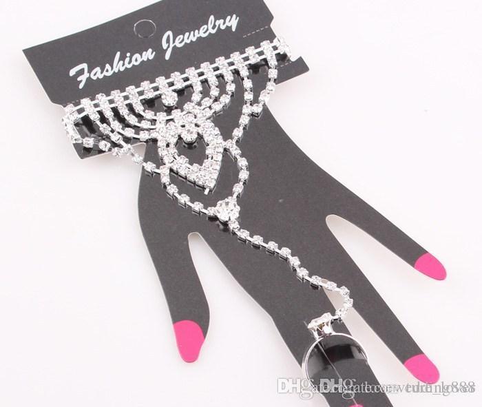 Moda Cristal Bridal Bride Bracelet Ring Cadeia de Mão Brilhando Rhinestone Wedding Jewelry Set Casamento Nupcial Acessórios de Strass