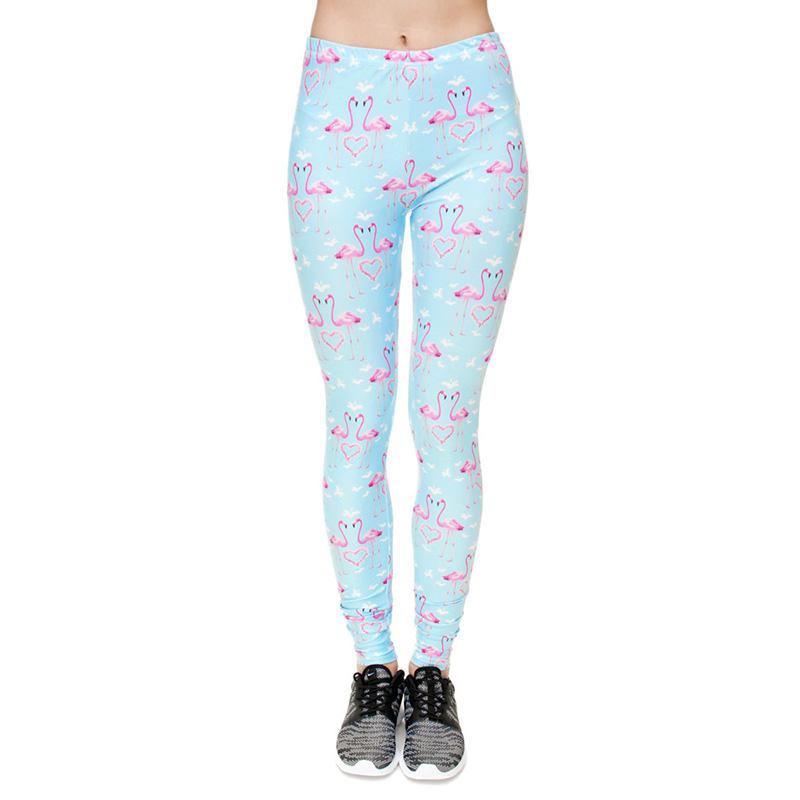 945f3365a125e 2019 Women Leggings Pink Flamingo Sky Blue 3D Full Print Girl Skinny  Stretchy Yoga Wear Pants Fitness Pencil Fit Lady Capris Trousers J31172  From Joybeauty, ...