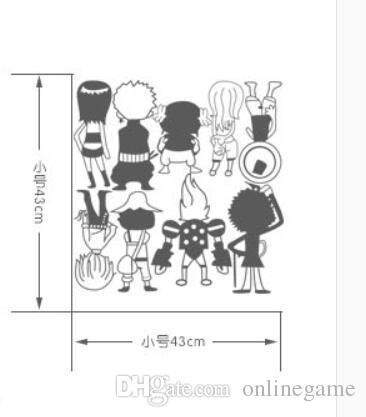 Ace One Piece Luffy Q 9 people Wall Sticker Car Wall Stickers Japanese Decal Vinyl Decal Sticker Home Decoration 43*43 cm