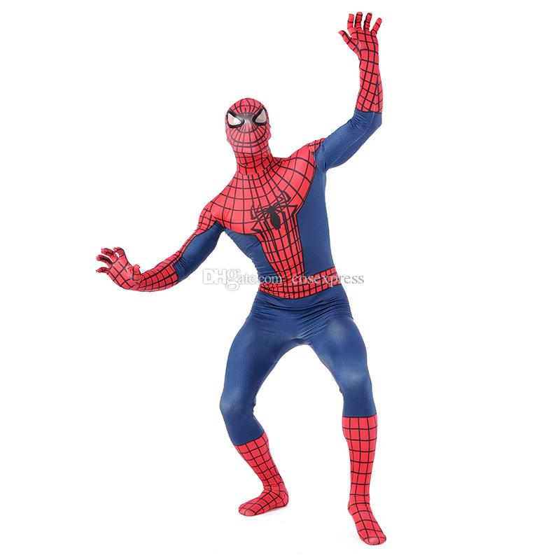 Hochwertige klassische rote und blaue Lycra Spandex Ganzkörper Spider-Man Zentai Anzug Superheld Spiderman Cosplay Kostüm Overall für Halloween