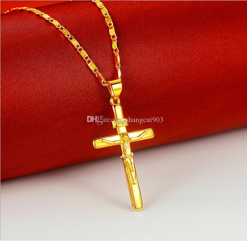 Nytt Cross Pendant Halsband 24 K guldpläterad halsband 18 tums mode Kvinnors bästa julklappar