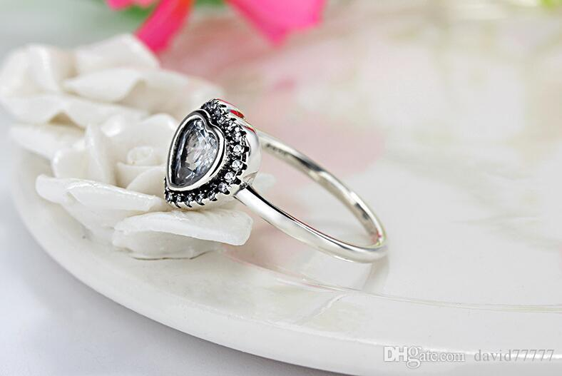 Кольцо ювелирные изделия серебряное кольцо S925 серебряные ювелирные изделия в форме сердца синтетический бриллиант кольцо подарок белый подарок, чтобы отправить его подруга жена