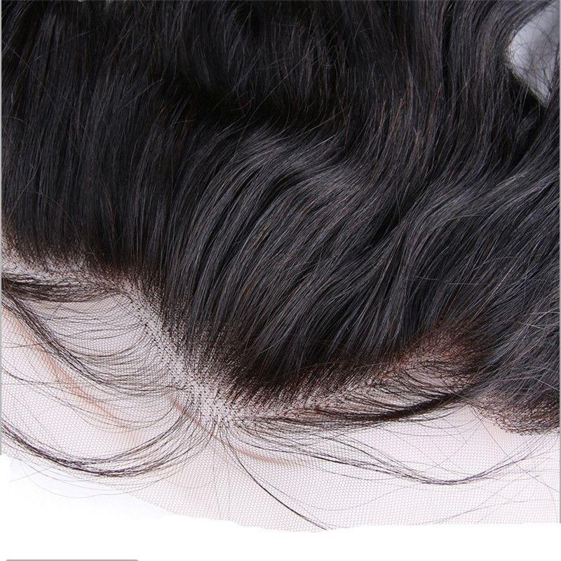 Brazillian Funmi Cabello completo de encaje frontal cierre libre medio 3 parte 13x4 de encaje frontal de onda suelta cabello humano / lote