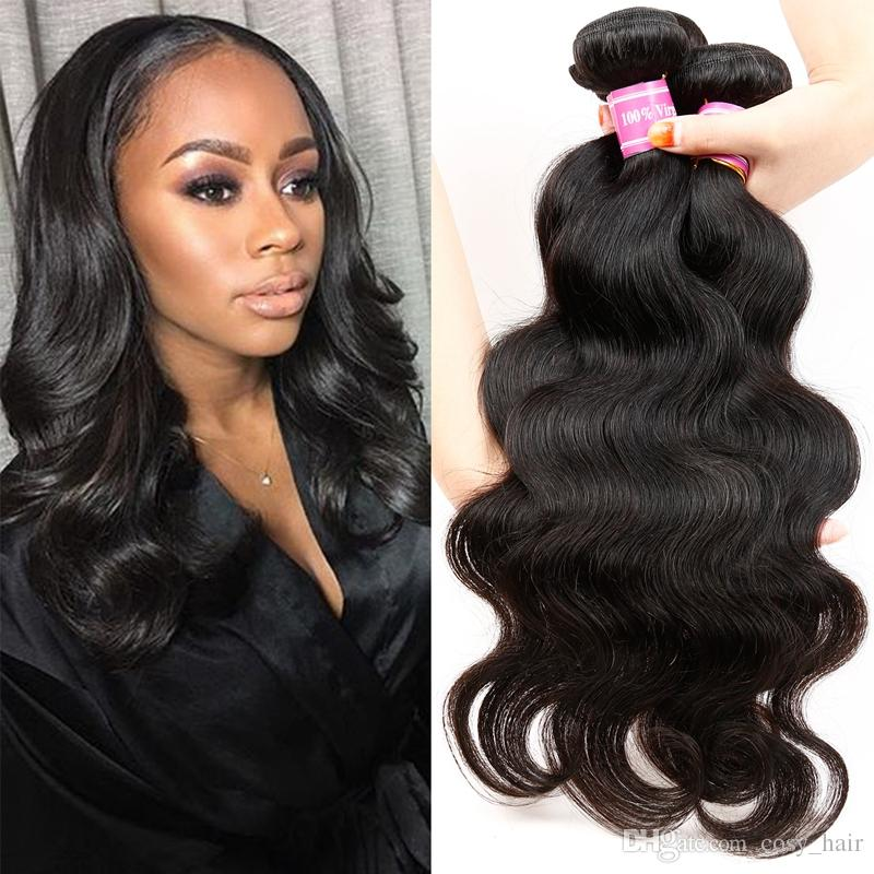 Brazilian Virgin Body Wave Hair Extensions Human Hair Weaves 4 Bundles Unprocessed Soft Beautiful Brazilian Remy Hair Natural Black by Cosy