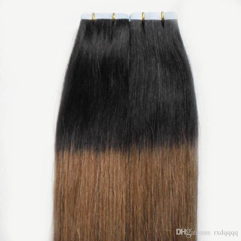Ombre cheveux brésiliens 100g Droite # 1B / 6 bande dans les extensions de cheveux humains Ombre Vierge Remy Peau Trames humains cheveux