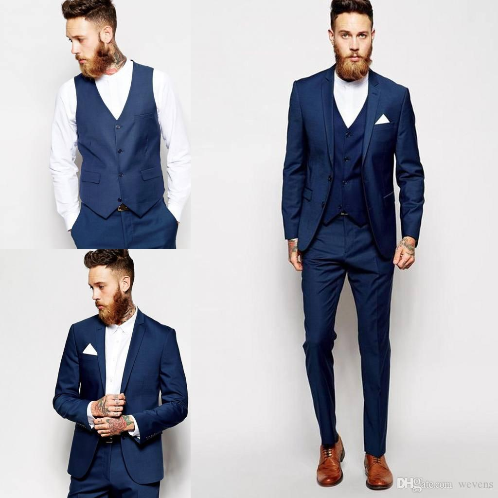Navy Blue Wedding Tuxedos Slim Fit Suits For Men Two Buttons Groom ...