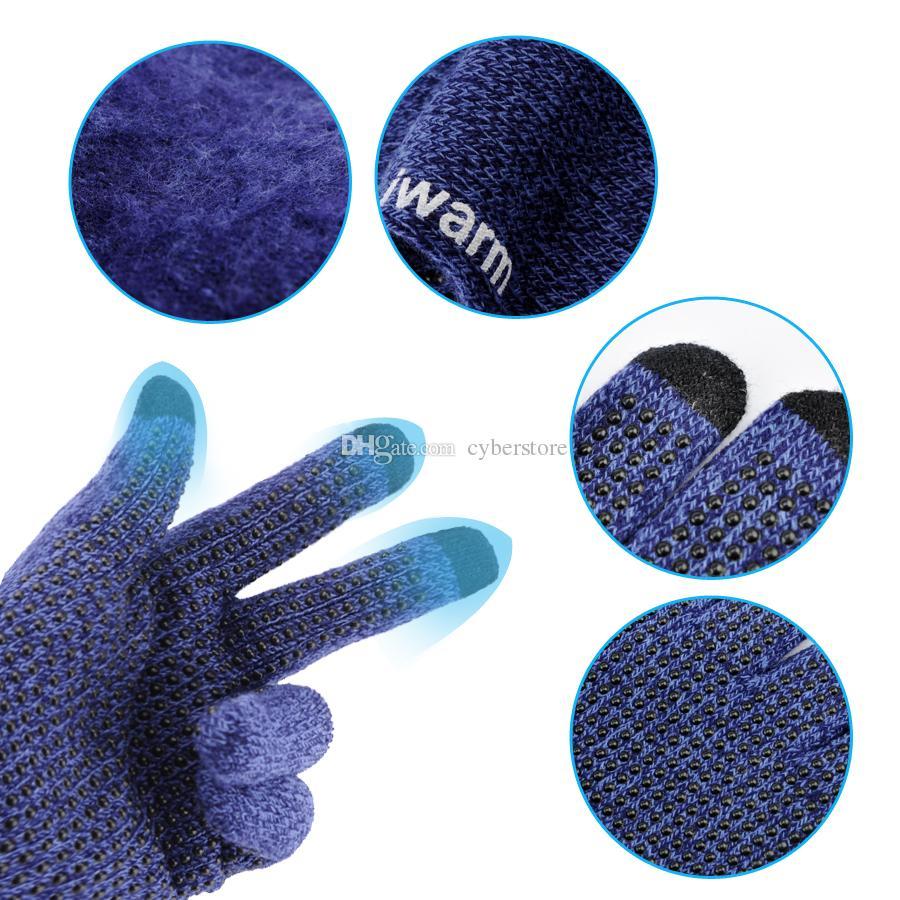 Más nuevo lujo Original iwarm antideslizante Pantalla táctil Capacidad Guantes Cálidos guantes de conducción de invierno Pantalla táctil para el teléfono celular ipad iPhone Tablet