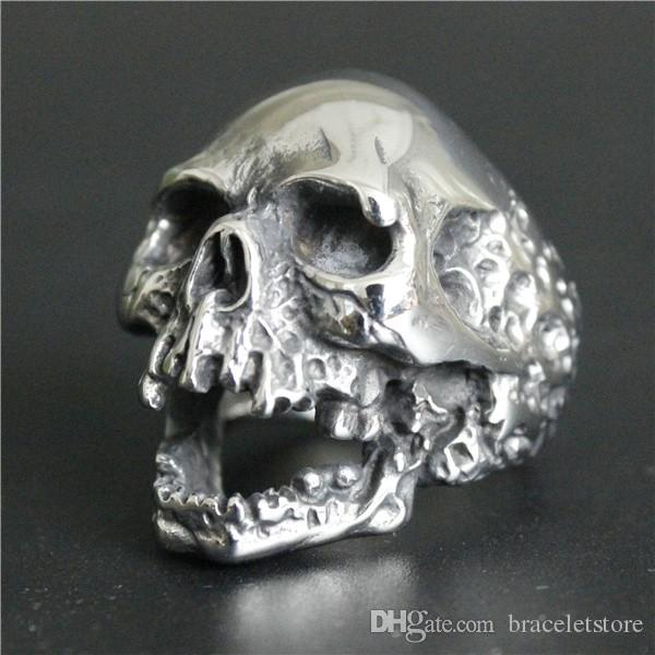 Newest Size 7-15 Huge Skull Cool Ring 316L Stainless Steel Fashion Jewelry Band Party Men Boys Evil Skull Ring